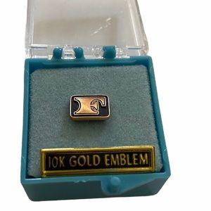 "Vg 10K Gold Emblem O.C. Tanner ""F"" Tie Tack Pin"